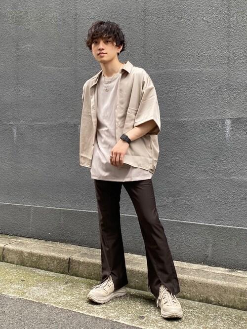 Shotaさんの「【抗菌/抗ウイルス加工TioTio】サテンBIGシャツ(HARE)(HARE)」を使ったコーディネート