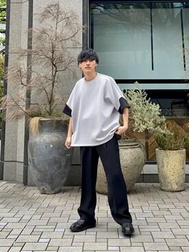 UNITED TOKYO OSAKA Amitani@tokyobaseさんのTシャツ/カットソー「【WEB限定】ドレープダンボールオーバーサイズT(UNITED TOKYO ユナイテッドトウキョウ)」を使ったコーディネート