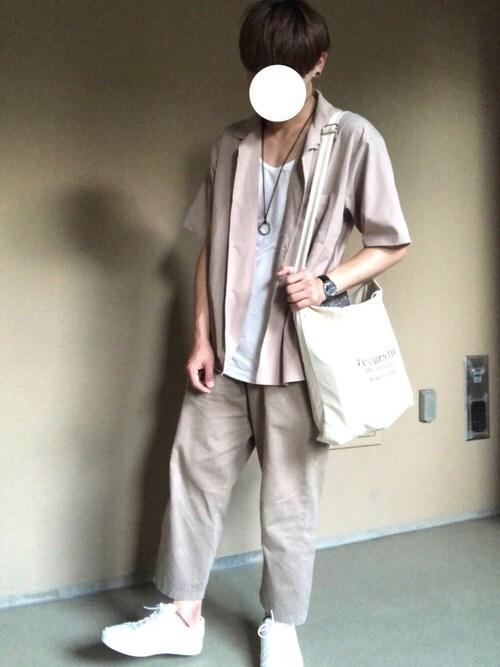 リトル【プチプラ】さんの「【Youtuberげんじ紹介アイテム】open collor shirt half sleeve / オープンカラー半袖シャツ(kutir)」を使ったコーディネート