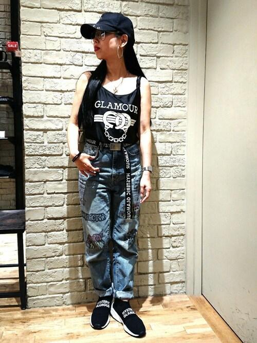HYSTERIC GLAMOUR横浜ジョイナス店45さんのベルト「LOGO テープベルト(HYSTERIC GLAMOUR|ヒステリックグラマー)」を使ったコーディネート