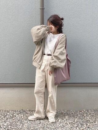 えだ( ¨̮ )さんの「WEARISTA えだ × INTER FACTORY - ロンT&サテンエコトートバッグ yuzutarosuセット -(INTER FACTORY インターファクトリー)」を使ったコーディネート