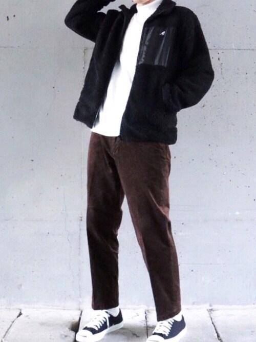 たぬきさんのブルゾン「【別注・コラボ】ZIP FIVE×KANGOL シープボアジャケット(KANGOL|カンゴール)」を使ったコーディネート