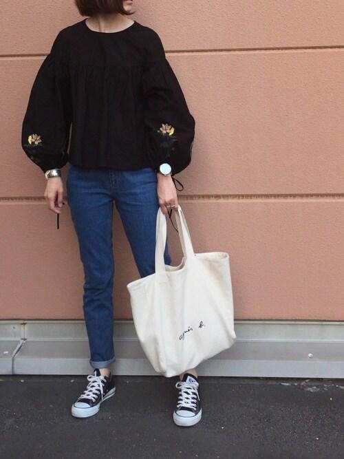 cota_raさんのトートバッグ「【WEB限定】GO03-01  ロゴトートバッグ(agnes b.|アニエスベー)」を使ったコーディネート