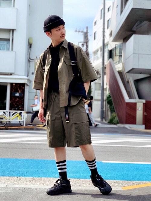 黒坂学さんの「WEGO/フラップポケット半袖シャツ(WEGO)」を使ったコーディネート