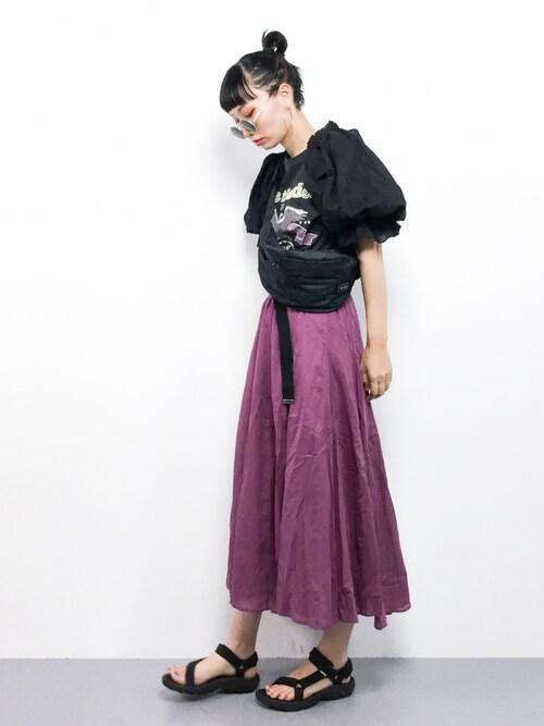 ZOZOTOWNyucoさんのTシャツ/カットソー「イーグルプリントボリューム袖Tシャツ(w closet|ダブルクローゼット)」を使ったコーディネート