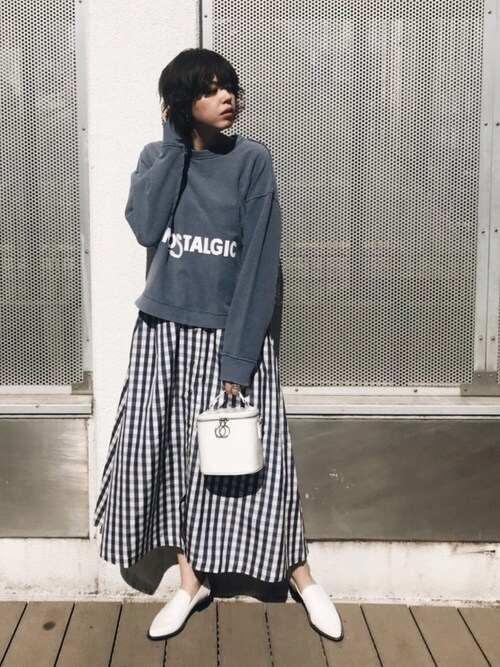 MOUSSY OFFICIALさんの「GINGHAM CHECK LONG SKIRT(MOUSSY)」を使ったコーディネート
