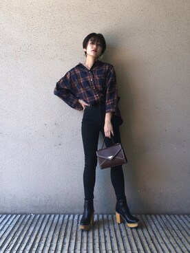 MOUSSY OFFICIALさんの「FAUX PEARL TARTAN BLOUSE(MOUSSY)」を使ったコーディネート