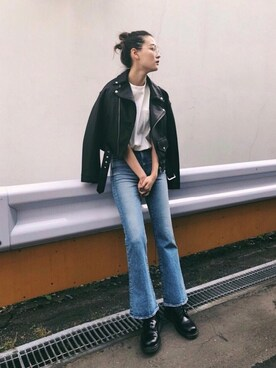 MOUSSY OFFICIALさんの「OVERSIZED RIDERS JACKET(MOUSSY)」を使ったコーディネート