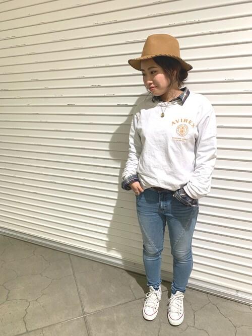 AVIREX  札幌ayanaさんのTシャツ/カットソー「AVIREX/アヴィレックス/エクスプローラー1 ピンナップガール T-シャツ/EXPLORER 1 PIN UP GIRL T-SHIRT(AVIREX|アヴィレックス)」を使ったコーディネート