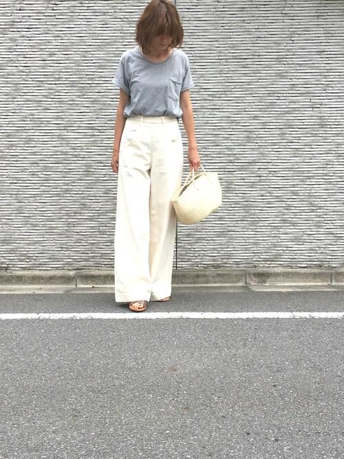 sandinistamikiさんのTシャツ/カットソー「Cadet C/N Pocket Tee / クルーネックポケットTシャツ(Sandinista|サンディニスタ)」を使ったコーディネート