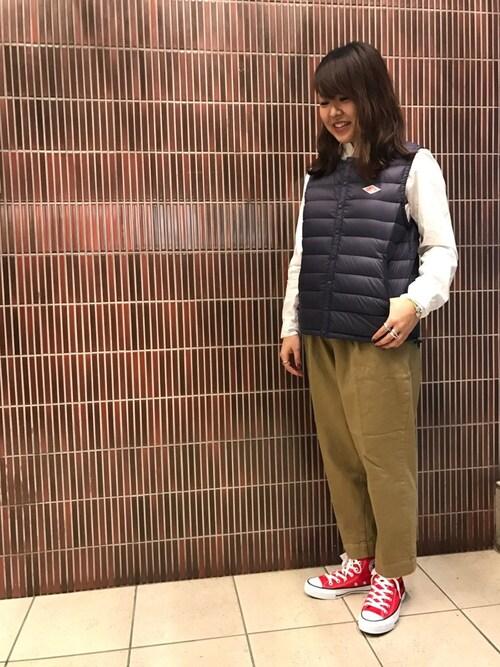 BEAVER渋谷店 もぎもぎ。さんのダウンベスト「DANTON/ダントン Inner Down Vest/インナーダウンベスト(Danton|ダントン)」を使ったコーディネート