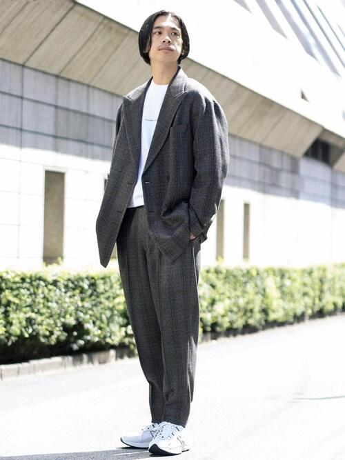 Ryo Hakozakiさんの「BY ヘリンボーン チェック 1P ルーズパンツ(BEAUTY&YOUTH UNITED ARROWS)」を使ったコーディネート