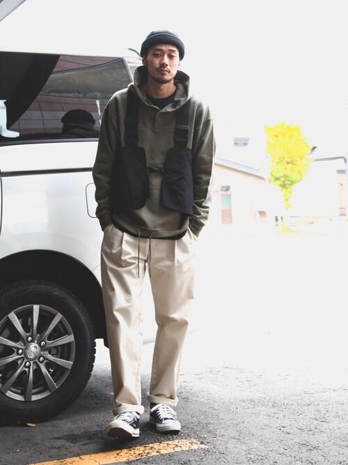 KONさんのパーカー「【Nilway】[USAコットン]フロントボタンプルオーバーパーカー【WEARISTA・インフルエンサー げんじ着用】(Nilway ニルウェイ)」を使ったコーディネート