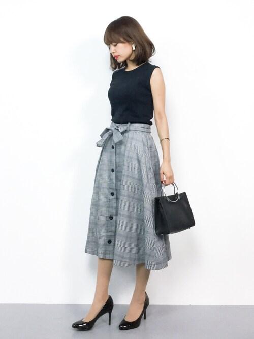 膝丈 ミディフレアスカート キレイめ 会社 30代