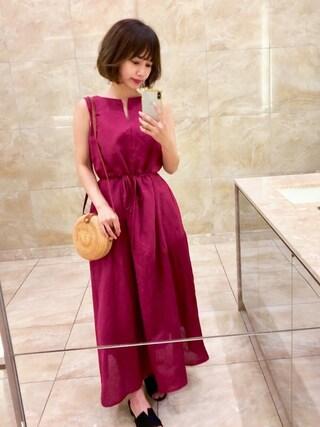 b4942705e14 erikoさんの「ファッションインフルエンサー eriko × INTER FACTORY リネンノースリーブワンピース(INTER