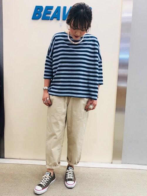BEAVER池袋店 さゆるゆるさんのTシャツ/カットソー「BOHEMIANS/ボヘミアンズ 別注COL BORDER BOAT NECK H/S TEE(BOHEMIANS|ボヘミアンズ)」を使ったコーディネート