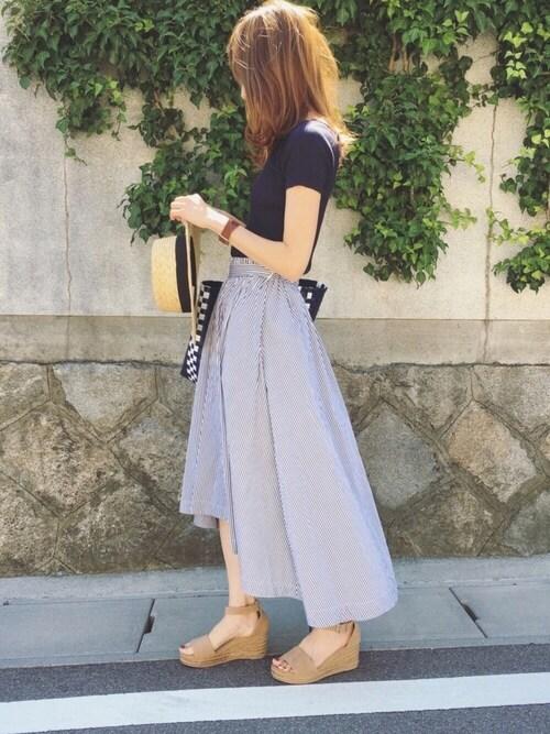Sato*さんのスカート「綿ブロードロンストフレアーイレヘムスカート(mysty woman ミスティウーマン)」を使ったコーディネート