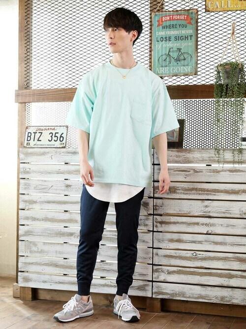 TopIsm-トップイズム-さんの「【2021】 2点セットアンサンブル ワイドシルエットポケット付半袖Tシャツとワッフルロングタンクトップ(TopIsm)」を使ったコーディネート