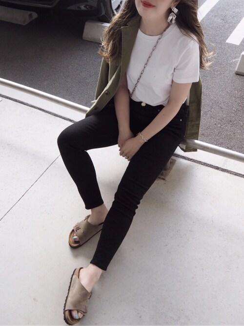 mさんの「クルーネックTシャツ/ホワイト[WOMEN](ZOZO)」を使ったコーディネート