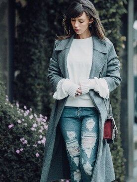 "Thania Peck is wearing The Kooples ""The Kooples Destroy Jeans"""