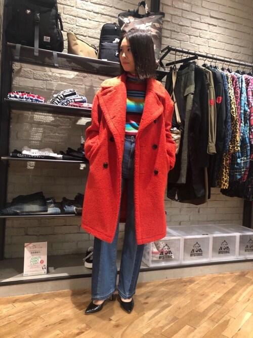 HYSTERIC GLAMOUR横浜ジョイナス店kimuさんのニット/セーター「マルチボーダー タートルプルオーバー(HYSTERIC GLAMOUR|ヒステリックグラマー)」を使ったコーディネート