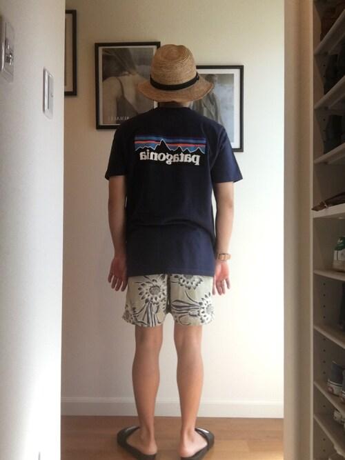 麦わら帽子にパタゴニアアイテムコーデ 画像1