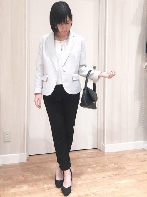 SHOO・LA・RUEmiさんのテーラードジャケット「【WEB限定サイズ】シャイニーボーダーツイードテーラードジャケット(SHOO・LA・RUE|シューラルー)」を使ったコーディネート