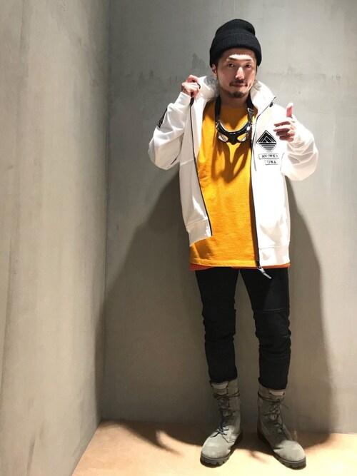 AVIREX 新潟みなとみらいosamuさんのTシャツ/カットソー「AVIREX/アヴィレックス/ 長袖 クルーネック Tシャツ マルチグラフィック/ L/S CREW NECK T-SHIRT MULTI GRAPHIC/ GT-10(AVIREX|アヴィレックス)」を使ったコーディネート
