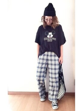 umakoさんの「MICKEY MOUSE CLUB TEE(AZUL BY MOUSSY)」を使ったコーディネート