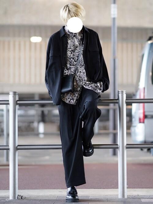 ユウさんの「【セットアップ】ポリトロツイルCPOビッグシルエットシャツジャケット&ベルト付きワイドパンツ SET-UP(LILL)」を使ったコーディネート