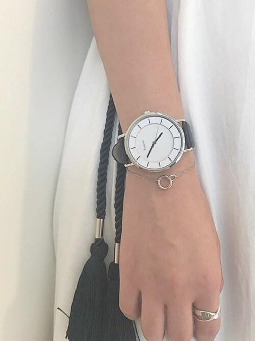 Jouete_officialJouete_officialさんの腕時計「ビックフェイス タイムピース【ブラック×シルバー】(Jouete|ジュエッテ)」を使ったコーディネート