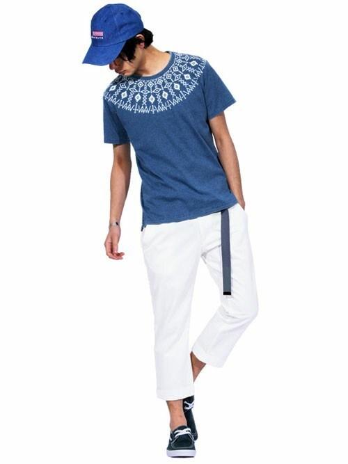 8(eight)8(eight)さんのTシャツ/カットソー「ネイティブ 半袖Tシャツ インディゴ(8(eight) エイト)」を使ったコーディネート