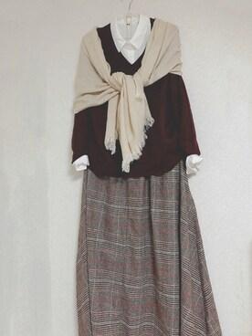 2257c82d8e6547 桜さんの「WOMEN エクストラファインメリノVネックセーター(長袖)(ユニクロ
