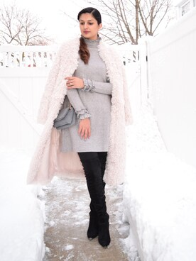 "Ayesha Sid is wearing Boohoo ""boohoo Boutique Brooke Faux Fur Coat"""