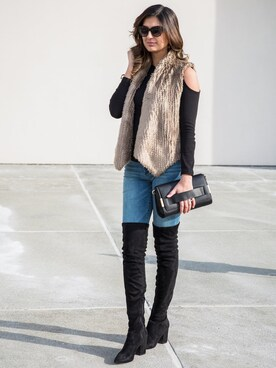 "Ayesha Sid is wearing STEVE MADDEN ""Women's Steve Madden Isaac Over The Knee Boot"""