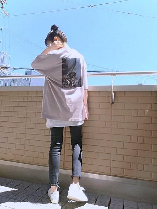 Tシャツ レイヤード 黒スキニー