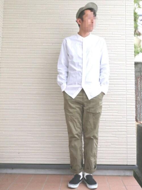 量産型じゃもじさんの「エクストラファインコットンブロードスタンドカラーシャツ(半袖)(ユニクロ)」を使ったコーディネート