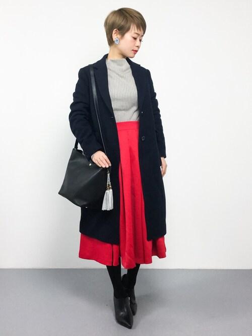 ZOZOTOWNyukiさんのスカート「カラーフレアスカート ロングスカート(MODE ROBE|モードローブ)」を使ったコーディネート