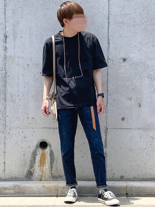 ぎっちゃんさんの「オーバーサイズクルーネックT(半袖)(ユニクロ)」を使ったコーディネート