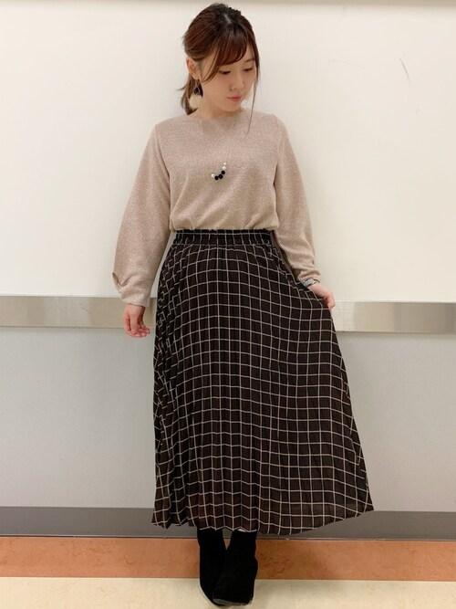 SHOO・LA・RUEだいわさんのスカート「チェックプリ−ツロングスカート(DRESKIP|ドレスキップ)」を使ったコーディネート