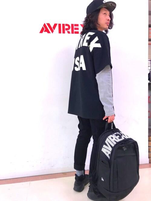 AVIREX 横浜RYO-SUKEさんのキャップ「AVIREX×NEW ERA/アヴィレックス×ニューエラ/ 9フィフティー マイファースト/ 9FIFTY MY 1st(NEW ERA|ニューエラ)」を使ったコーディネート