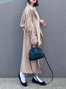 SIZUさんのトレンチコート「バックプリーツトレンチコート チュールスプリングコート ライトアウター シアー 20SS(Fashion Letter ファッションレター)」を使ったコーディネート