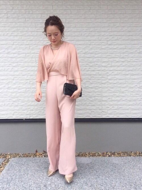 結婚式ピンク系ワンピース