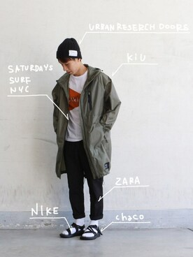 KiU|KiU-officialさんの「SATURDAYS SURF NYC / サタデーズサーフ BIKINI TEE(SATURDAYS SURF NYC)」を使ったコーディネート