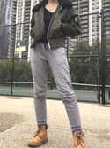 "petal is wearing Timberland ""Timberland 6 Inch Premium Lace Up Beige Flat Boots"""