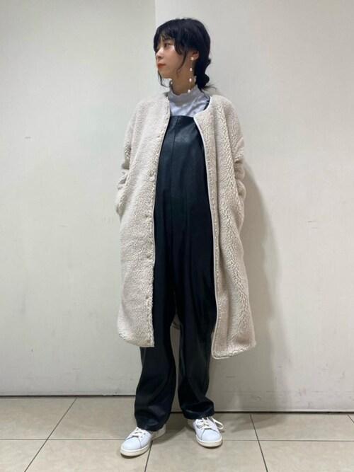 UNITED ARROWSMana Hashimotoさんのノーカラーコート「UWSC P/AC ボア ノーカラーコート†(UNITED ARROWS ユナイテッドアローズ)」を使ったコーディネート