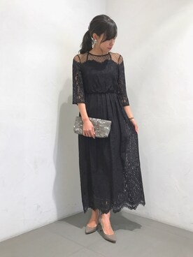 URBAN RESEARCH ROSSO|ROSSO名古屋パルコ店さんの「ドットチュール×パネルレースドレス(URBAN RESEARCH ROSSO WOMEN)」を使ったコーディネート