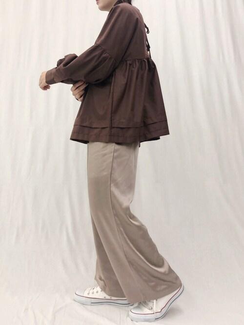 Ifuru 本部Ifuru_officialさんのシャツ/ブラウス「タックリボンシャツ(Ifuru|イフル)」を使ったコーディネート