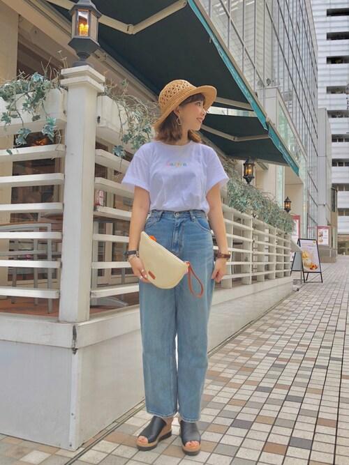 MILKFED. 名古屋MARIさんのTシャツ/カットソー「S/S TEE MULTI EMBROIDERED STENCIL LOGO(MILKFED.|ミルクフェド)」を使ったコーディネート