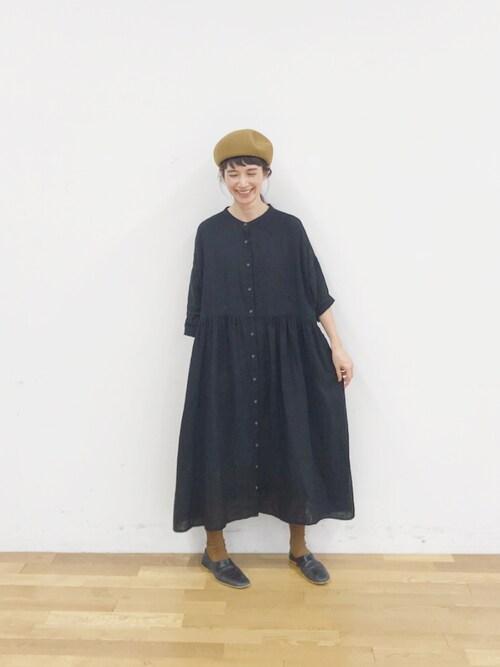 Kazumiさんのワンピース「ダブルガーゼギャザーワンピース(conges payes ADIEU TRISTESSE コンジェ ペイエ アデュートリステス)」を使ったコーディネート
